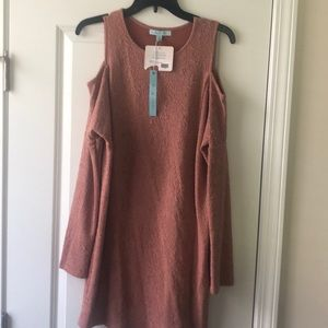NWT She & Sky Dusty Rose Cold Shoulder Dress.
